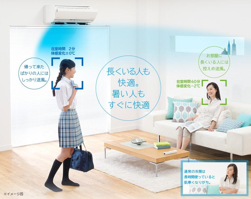 エアコン取り付け屋さん:「【日立(HITACHI)】 エアコン 白くまくん Xシリーズ」冷房機能の画像1(イメージ)